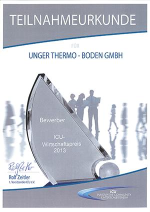 RenoScreed EnergieSpar & SanierEstrich als ausgewählter Bewerber für nachhaltiges Wirtschaften im Rahmen des ICU-Wirtschaftspreises 2013